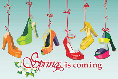 leather goods: Set of Colorful fashion women s shoes,open shoes,High heel shoes ,gorgeous shoes,open toe shoes hang on a ribbon Spring is coming background Casual and festive Fashion illustration,vector