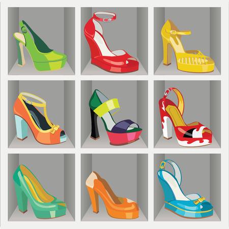 illustrazione moda: Set di scarpe da donna di moda Colorful s, scarpe aperte, scarpe tacco alto, scarpe bellissime, scarpe open toe in scarpe di moda nel negozio o nel guardaroba casual e festosa Moda illustrazione, vettore