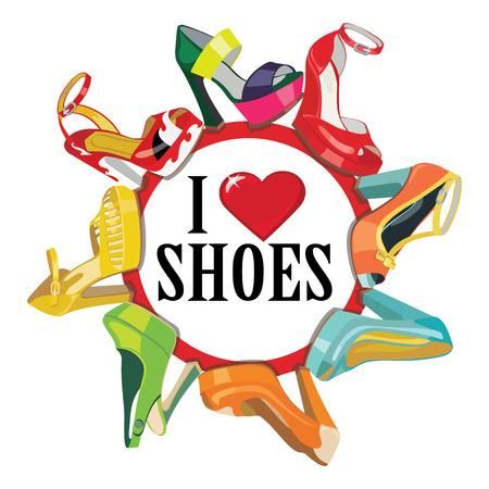mode retro: Set van kleurrijke mode vrouwen schoenen, open schoenen, hoge hakken, prachtige schoenen, open teen schoenen Casual en feestelijke Gezegde ik hou van schoenen Een poster, een sticker, een screensaver Mode illustratie, vector