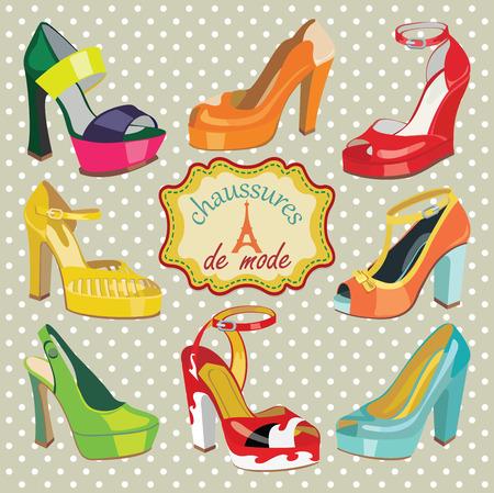 illustrazione moda: Set di scarpe da donna di moda Colorful s, scarpe aperte, scarpe tacco alto, scarpe bellissime, aperta scarpe a punta Label Francese Chaussures de mode, con la torre Eiffel Casual e festoso Moda illustrazione, vettore