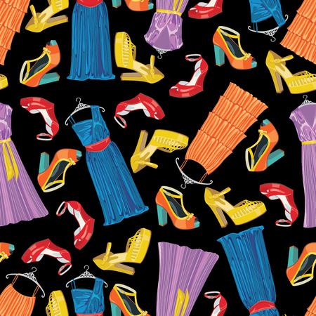 Seamless pattern of three female s cocktail dresses and high heel open shoeses Black background Use as background,fabric,Wallpaper,wrapping paper Casual and festive Fashion illustration,vector Vector