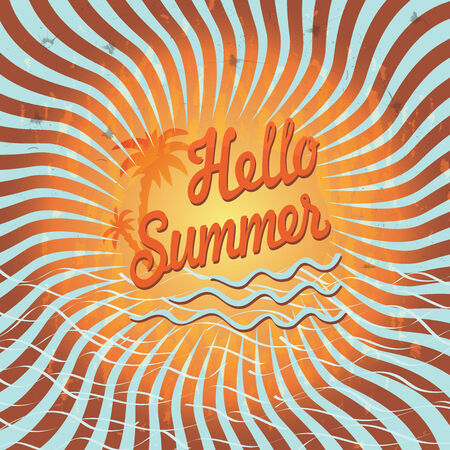 hello heart: Design template Hello summer with palm tree imitation of the sun.Vintage.The text Hello,summer!Orange and blue bicolor spiral. Optical illusion. Illustration