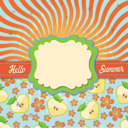 hello heart: The text Hello,summer!Orange and blue bicolor spiral. Optical illusion.