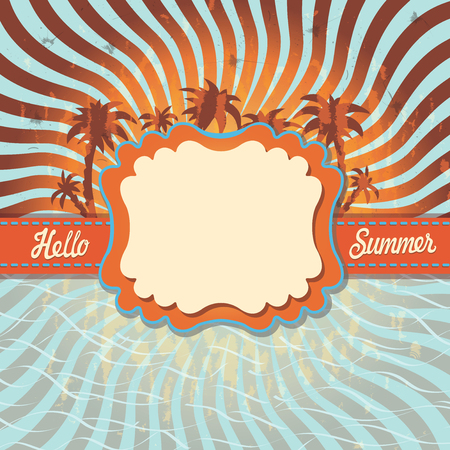 hello heart: Design template Hello summer with palm tree imitation of the sun,the sea.Vintage.The text Hello,summer!Orange and blue bicolor spiral. Optical illusion.Vintage vector illustration