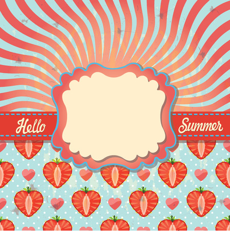hello heart: Design template Hello summer in retro style with strawberry,heart,polka dot,tape.Imitation of the  sun, text Hello,summer!Orange and blue bicolor spiral. Optical illusion. Illustration