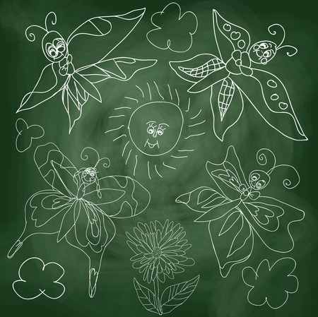 Butterfly,sun,clouds on chalkboard background.In the style of childrens hand-drawing.Outline different Butterfly,sun,clouds and flowers.Stylized drawing with chalk.Vector cartoon illustration Vector