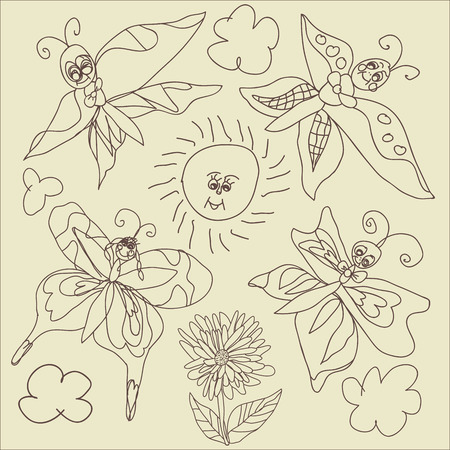 Butterfly,sun,clouds.In the style of childrens hand-drawing.Outline different Butterfly,sun,clouds and flowers.Vector cartoon illustration Vector
