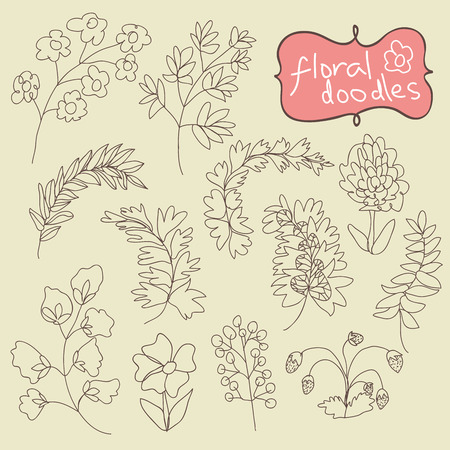 botanica: Flowers and plants Doodle. In the style of childrens hand-drawing.Outline different branches and flowers. Vector cartoon illustration