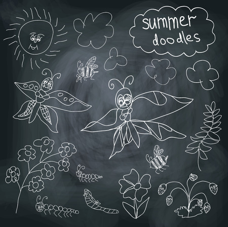 Summer Doodle set on chalkboard background.In the style of childrens hand-drawing.Outline different butterflies,ather insects,sun,clouds,branches, flowers. Vector cartoon illustration Vector