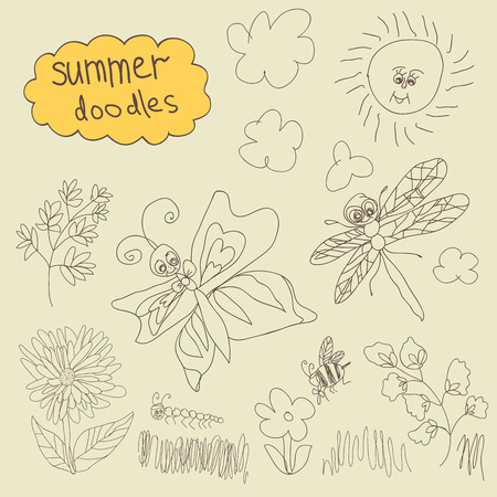 Summer Doodle. In the style of childrens hand-drawing.Outline different butterflies,ather insects,sun,clouds,branches, flowers. Vector cartoon illustration Vector
