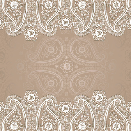Imitation lace in Paisley motive  Wedding invitation design template Turkish cucumbers Oriental motif Vector illustration Retro style,vintage  Vector