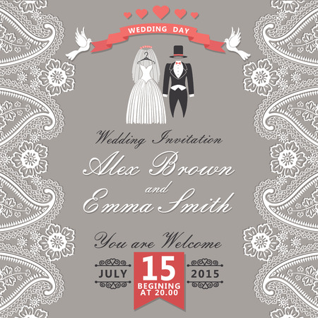 frock coat: The wedding invitation with cartoon wedding clothes in Retro style with vignettes,ribbon,pigeons,Imitation lace in Paisley motiv Wedding invitation design template The vector