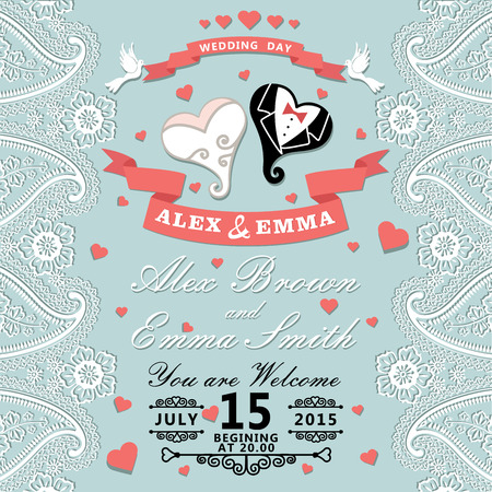The wedding invitation with cartoon wedding hearts in Retro style with vignettes,ribbon,pigeons,Imitation lace in Paisley motiv Wedding invitation design template The vector  向量圖像