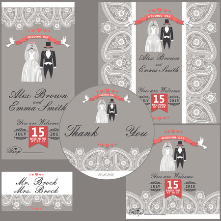 The wedding design templat set with cartoon wedding clothes in Retro style with vignettes,ribbon,pigeons,Imitation lace in Paisley motiv Wedding  invitation,postcard,business card,cover,thanks The vector  Vector
