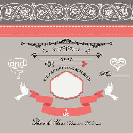 business invitation: The wedding design templat set  in Retro style with vignettes,ribbon,pigeons,Imitation lace in Paisley motiv For Wedding  invitation,postcard,business card,cover,thanks The vector