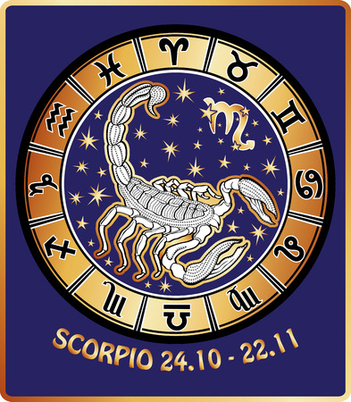 One Scorpio circle behind them are symbols of all zodiac signs Horoscope circle Golden and white figure on blue background Graphic Vector Illustration in retro style