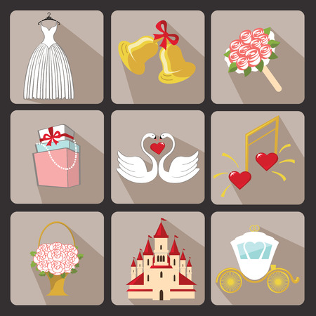Retro Vector Design wedding  icons for Web and Mobile Set of  wedding items Colored elements with a falling shadow  Vector Vector