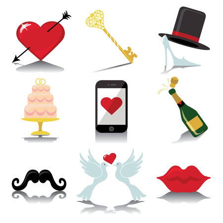 Vector Design wedding  icons for Web and Mobile Set of  wedding items �Colored elements with a falling shadow    The white background Vector Vector