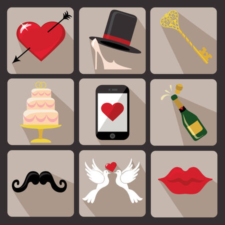 Vector Design wedding  icons for Web and Mobile Set of  wedding items �Colored elements with a falling shadow  Vector Vector