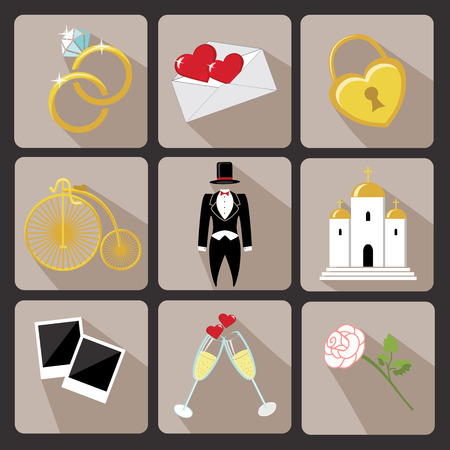 Vintage Vector Design wedding  icons for Web and Mobile Set of  wedding items Colored elements with a falling shadow  Vector Vector