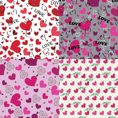 Set of love Seamless pattern or background , fabric,Wallpaper,packaging Multi-colored heart an arrow,stylized flowers and polka dots  The vector  Vector