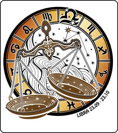 Weegschaal sterrenbeeld. Rond is kring van horoscoop tekens van zodiac sterrenbeeld Maagd en sterren. Vector illustratie.