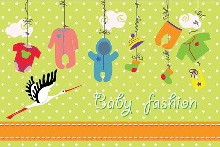 Kleurrijke kleding voor pasgeboren baby jongen en meisje opknoping op het touw op polka dot achtergrond. Ontwerp sjabloon, uitnodigingen, groet card.Slip, lichaam, jas, mutsen, sokken, rompertjes, slabbetje voor nieuwe baby. Grappig vector Illustratie met ooievaar.