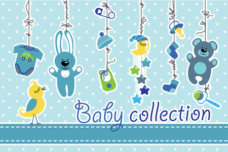 Colorful  baby items for newborn baby boy hanging on the rope on polka dot background. Design template, invitations,greeting card.Body,hats,socks,Mobile,teddy,bunny,dummy,pin,bib for new baby .Funny vector Illustration with bird. Vector