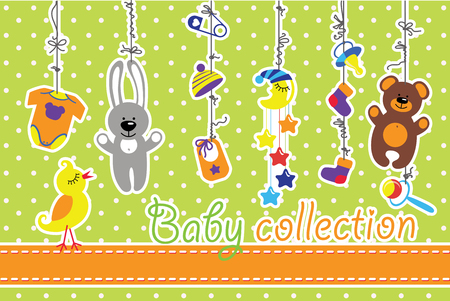 Colorful  baby items for newborn baby boy and girl hanging on the rope on polka dot background. Design template, invitations,greeting card.Body,hats,socks,Mobile,teddy,bunny,dummy,pin,bib for new baby .Funny vector Illustration with bird. Vector
