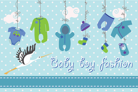 rompers: Colorful clothes for newborn babyboy hanging on the rope on polka dot background. Design template, invitations,greeting card.Slip,body,jacket,hats,socks,rompers,bib for boy .Funny vector Illustration with stork.