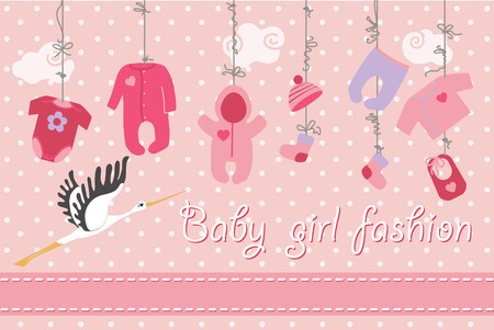 Colorful clothes for newborn baby girl hanging on the rope on polka dot background. Design template, invitations,greeting card.Slip,body,jacket,hats,socks,rompers,bib for girl .Funny vector Illustration with stork. Vector