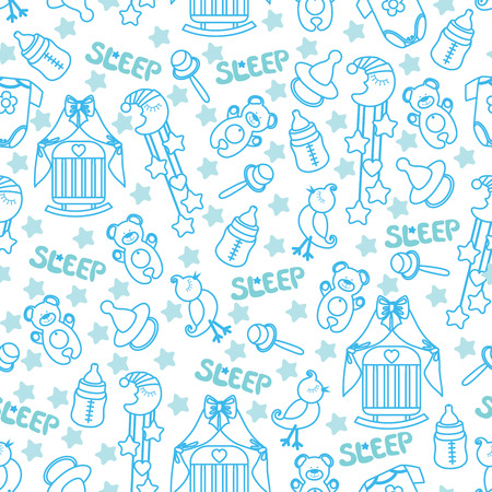 Colorful Sleep newborn items collection in seamless pattern for Baby boy.For fabrics,Wallpaper,packaging,background.Vector cartoon illustration Stock Photo
