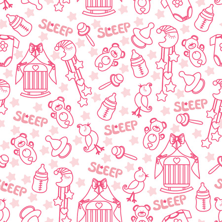 Colorful Sleep newborn items collection in seamless pattern for Baby girl.For fabrics,Wallpaper,packaging,background.Vector cartoon illustration illustration