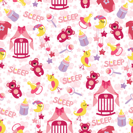 Colorful Sleep newborn items collection in seamless pattern forBaby girl.For fabrics,Wallpaper,packaging,background.Vector cartoon illustration illustration