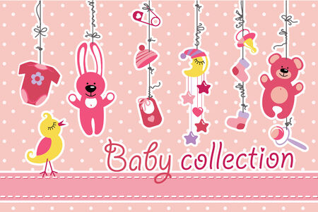 Colorful  baby items for newborn baby girl hanging on the rope on polka dot background. Design template, invitations,greeting card.Body,hats,socks,Mobile,teddy,bunny,dummy,pin,bib for new baby .Funny vector Illustration with bird. illustration