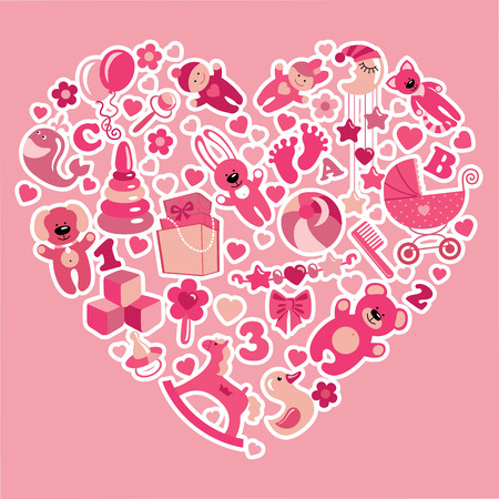 A set of cute items of toys for new born baby-girl in the heart form.Pink colors.Vector design elements. photo