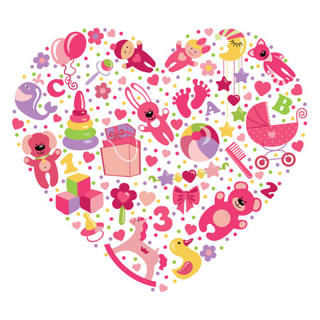 A set of cute items of toys for new born baby-girl in the heart form.Vector design elements. photo