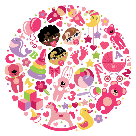 babygirl: A set of cute items of toys for new born baby-girl in the form of a circle.Vector icons,design elements.