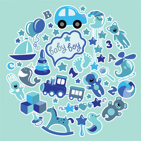 A set of cute items of toys for new born baby-boy in the form of a circle. Blue colors.Vector icons,design elements. photo