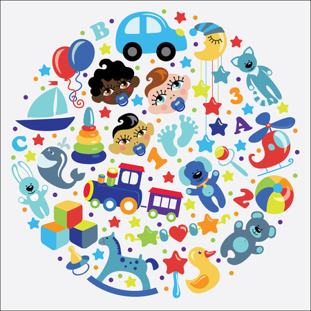 mulatto: A set of cute items of toys for new aorn baby-boy in the form of a circle. Face Asian,a mulatto,European  boys.Vector icons,design elements.