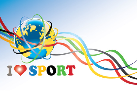 modernity: Planet Earth with the sports competition rings around and ribbons with the sports competition colors.The phrase I love sport. Wallpaper for computer.Vector
