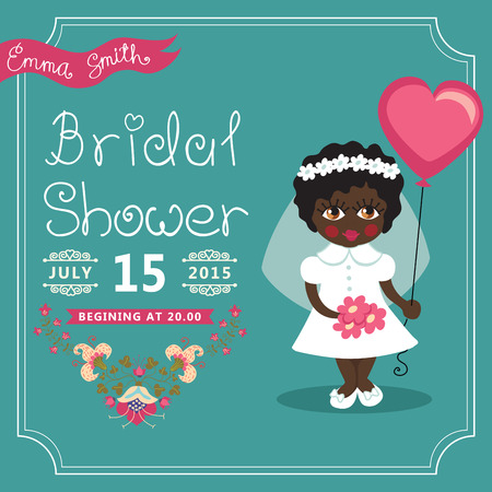 mulatto: Bridal Shower invitation Mulatto baby bride, floral element