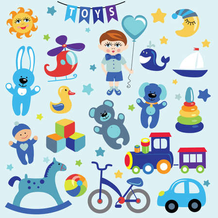 Baby boy with Baby toy  icons Vector