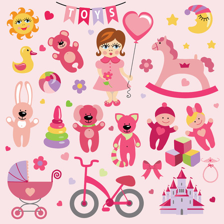 Baby girl with Baby toy  icons eps Vector