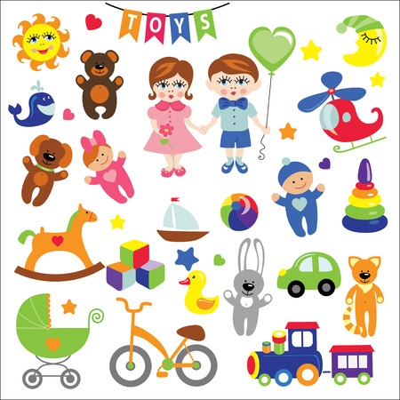 baby goods: Baby girl and boy with Baby toy  icons