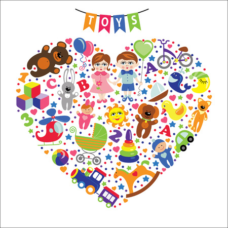 Children toys icons Composition in the form of heart Vector