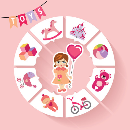 Circle vector children infographic Little girls toys icons Vector