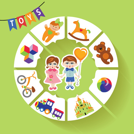 ic: Circle vector children infographic Little boys and girls toys ic Illustration