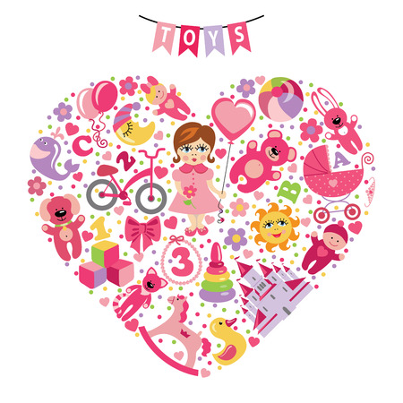 europian: Girls toys icons Composition in the form of heart Illustration