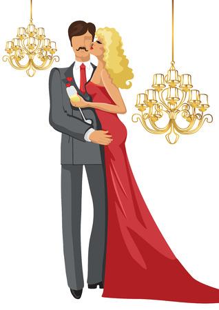 innamorati che si baciano: Kissing Amanti Coppia uomo e donna con lampadari Vettoriali